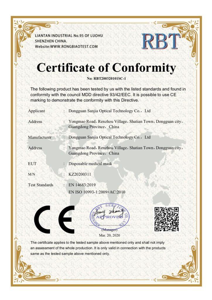 RBT Certificate of Conformity