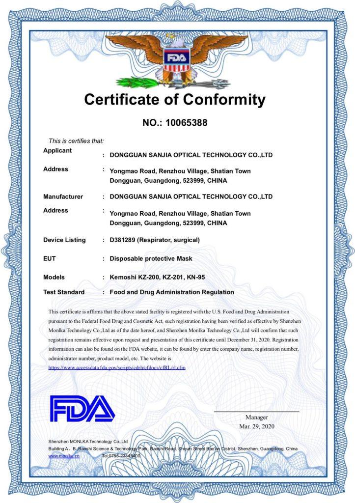 FDA Certificate of Conformity